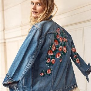 Madewell embroidered oversized jean jacket